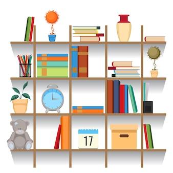 Conjunto de acessórios de escritório na ilustração vetorial de prateleira. livros empilhados, pastas, plantas decorativas em vasos, relógios e brinquedos, livros didáticos e documentos