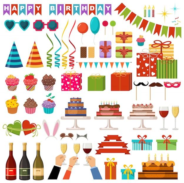 Conjunto de acessórios de festa feliz aniversário