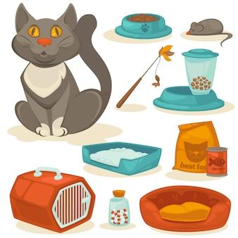 Conjunto de acessórios de gato. suprimentos para animais de estimação