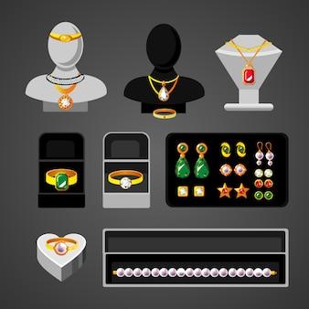 Conjunto de acessórios de joias de desenho animado