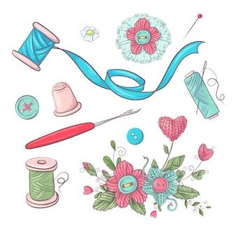 Conjunto de acessórios de manequim de costura. desenho à mão.