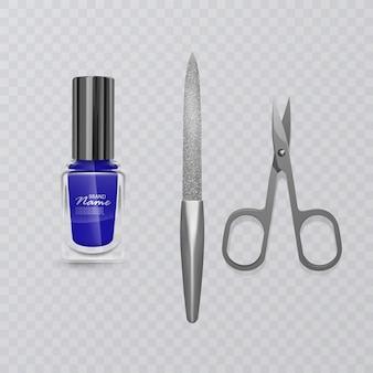Conjunto de acessórios de manicure, ilustração de tesoura de manicure, esmalte azul e lixa de unha, cuidados para as mãos, ilustração