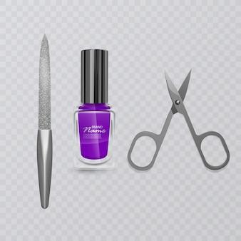 Conjunto de acessórios de manicure, ilustração de tesoura de manicure, esmalte roxo e lixa de unha, cuidados para as mãos, ilustração