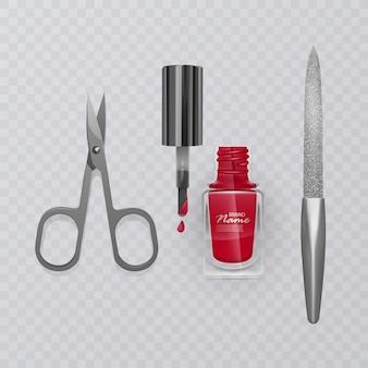 Conjunto de acessórios de manicure, ilustração de tesoura de manicure, esmalte vermelho e lixa de unha, cuidados para as mãos, ilustração
