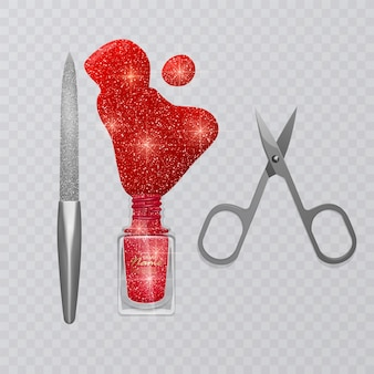 Conjunto de acessórios de manicure, ilustração de tesouras de manicure