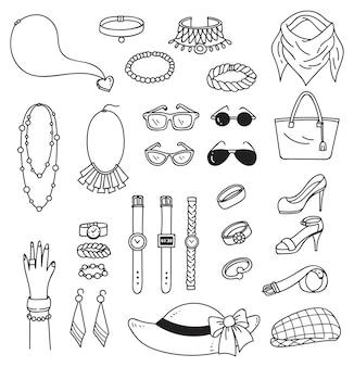 Conjunto de acessórios de moda doodle isolado no fundo branco