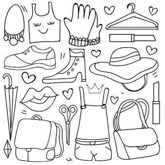 Conjunto de acessórios de moda mulher em estilo doodle isolado no fundo branco, tema de vestuário conjunto de mão desenhada de vetor. ilustração vetorial