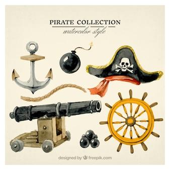 Conjunto de acessórios de pirata aquarela