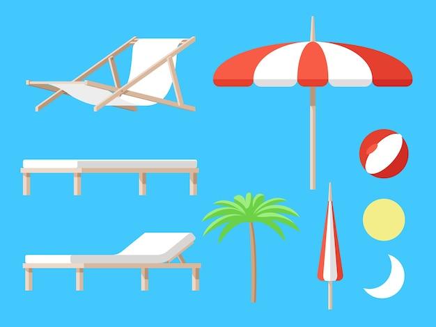 Conjunto de acessórios de praia com guarda-chuva chaise-longue recliner palm and ball