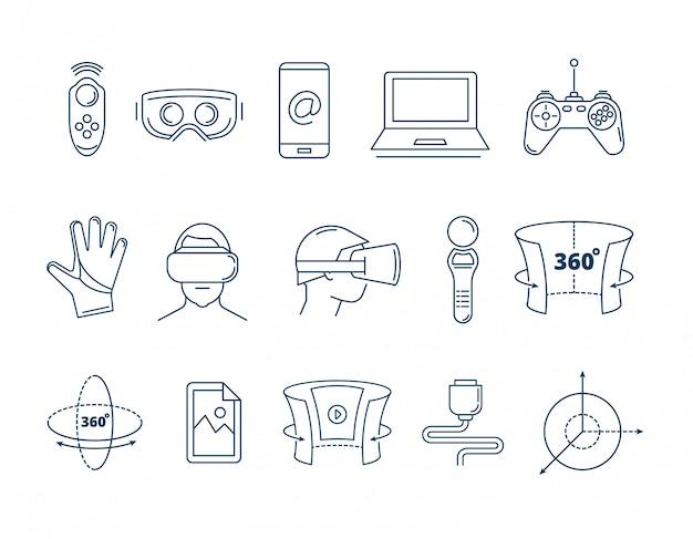 Conjunto de acessórios de realidade virtual de ícones lineares