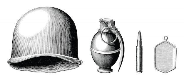 Conjunto de acessórios de soldado mão desenhar estilo vintage preto e branco