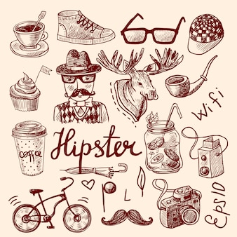 Conjunto de acessórios hipster, avatar e elementos