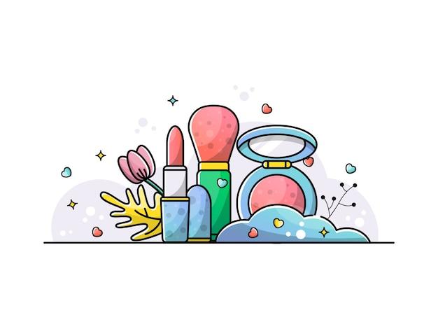 Conjunto de acessórios maquiagem ilustração