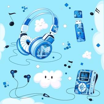 Conjunto de acessórios musicais. mp3 player, fones de ouvido, fones de ouvido a vácuo, unidade flash usb para música