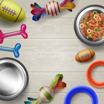 Conjunto de acessórios para animais de estimação: brinquedos, ossos, bolas, ossos, tigelas, casa em fundo de madeira