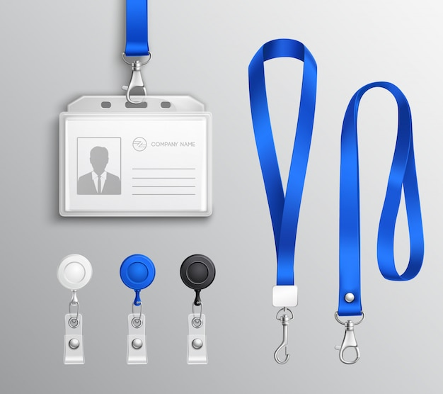 Conjunto de acessórios para crachás de cartão de identificação
