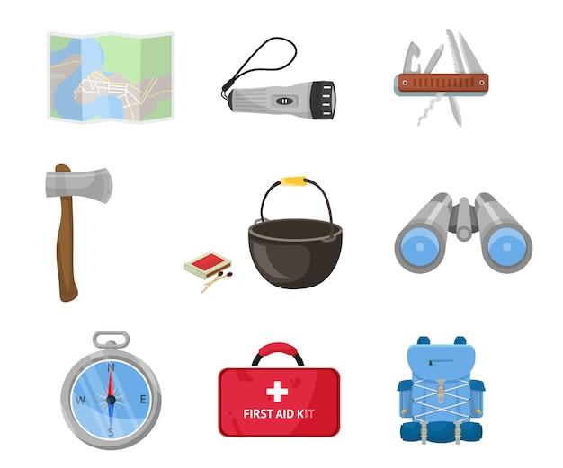 Conjunto de acessórios turísticos, mapa, kit de primeiros socorros, mochila, bússola, binóculos.