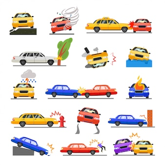 Conjunto de acidente de carro