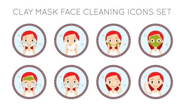 Conjunto de ações de limpeza e cuidados do rosto do vetor