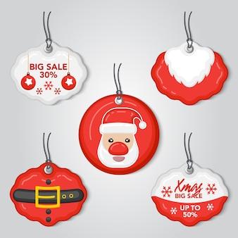 Conjunto de ações de marca de venda de natal com papai noel.