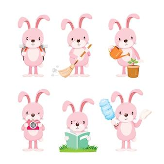 Conjunto de ações do coelho rosa, feliz páscoa, temporada de primavera