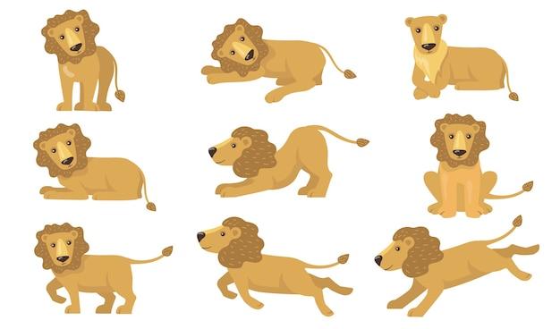 Conjunto de ações do leão dos desenhos animados. animal amarelo engraçado com cauda em pé, mentindo, brincando, correndo, caçando. ilustração vetorial para felino, safari
