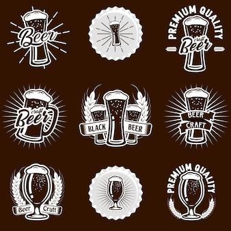 Conjunto de ações vetor cerveja logo ilustração
