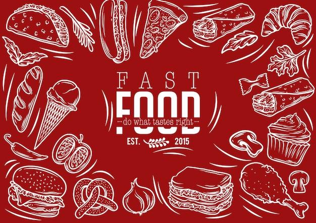 Conjunto de ações vetor de banner de fast-food