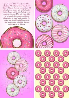 Conjunto de ações vetor de donuts de cartão de cartaz