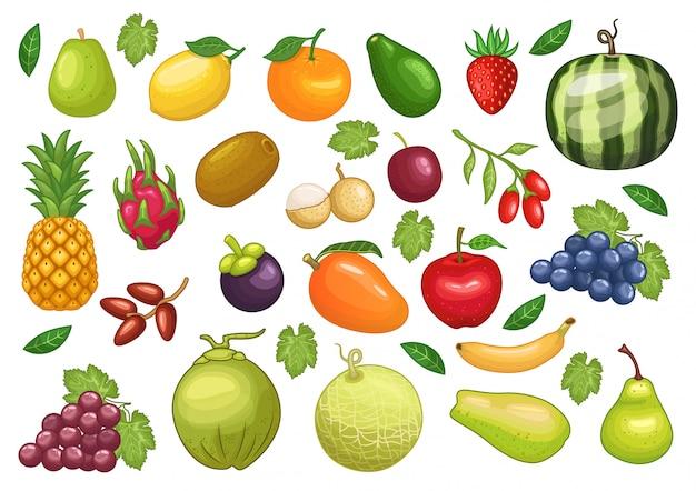 Conjunto de ações vetor de frutas ilustração de objeto gráfico