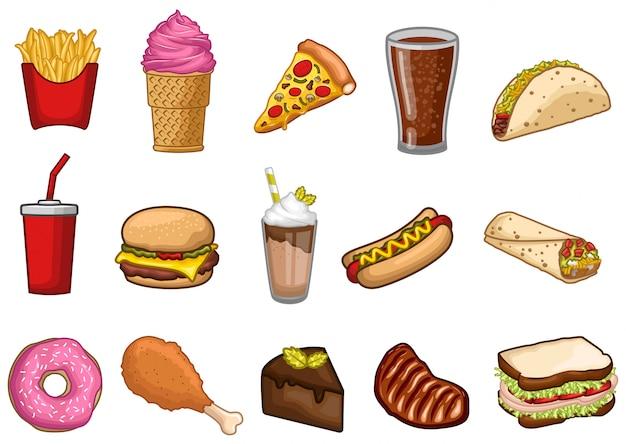 Conjunto de ações vetor de ilustração de objeto gráfico de fast-food