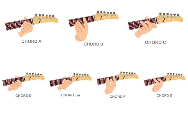Conjunto de acordes de guitarra