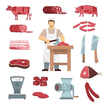 Conjunto de açougueiro de carne