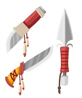 Conjunto de adagas e facas índio americano nativo. braços de aço frio com couro e penas. ilustração em fundo branco