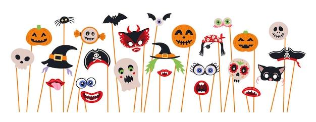 Conjunto de adereços de cabine fotográfica de halloween e vetor de scrapbooking. decoração de festa com fantasmas, abóbora, morcego,
