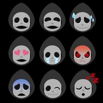 Conjunto de adesivo de emoticon de morte isolado