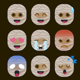 Conjunto de adesivo de emoticon de múmia isolado