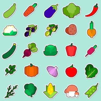 Conjunto de adesivo de legumes na coleção de ícones coloridos de fundo azul