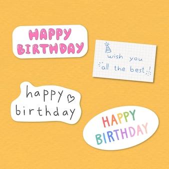 Conjunto de adesivo de tipografia de feliz aniversário