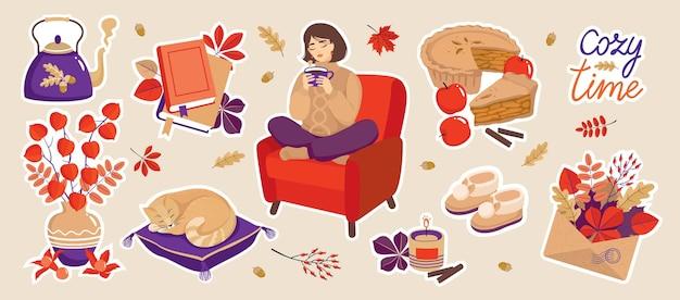 Conjunto de adesivos aconchegantes de outono: um bule, uma menina em uma cadeira, um gato dormindo, chinelos quentes, physalis, livros, folhas, uma vela. vetor, isolado.