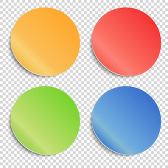 Conjunto de adesivos adesivos redondos com bordas dobradas. modelos em branco de um preço.
