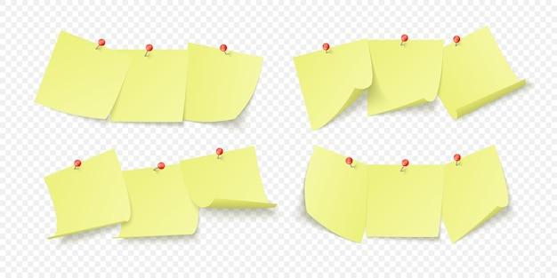 Conjunto de adesivos amarelos de escritório com espaço para texto ou mensagem, preso por mamilos na parede. isolado em fundo transparente