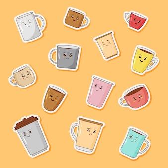 Conjunto de adesivos bonitos de xícaras de café