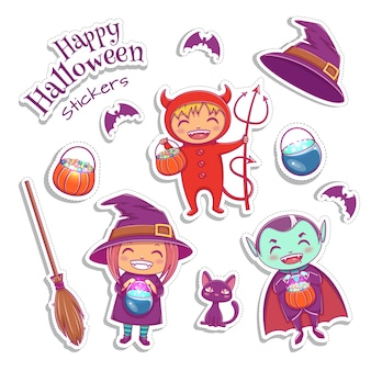Conjunto de adesivos bonitos inclui bruxa, vampiro, diabo e outros elementos mágicos. design de personagens de halloween. ilustração vetorial. Vetor Premium