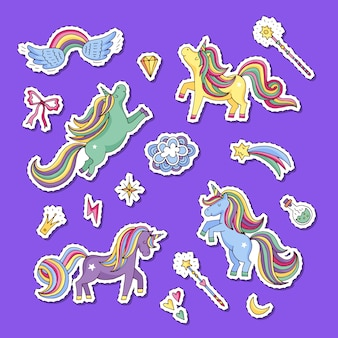 Conjunto de adesivos bonitos unicórnios e estrelas mágicos