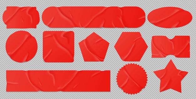 Conjunto de adesivos colados vermelhos