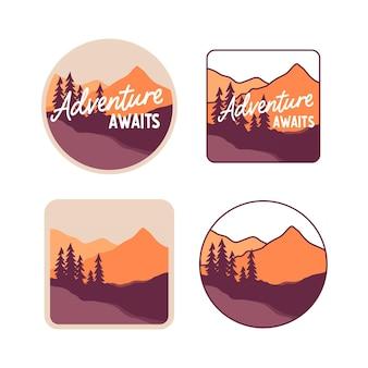 Conjunto de adesivos coloridos com montanhas e abetos vermelhos