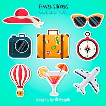Conjunto de adesivos coloridos de viagens