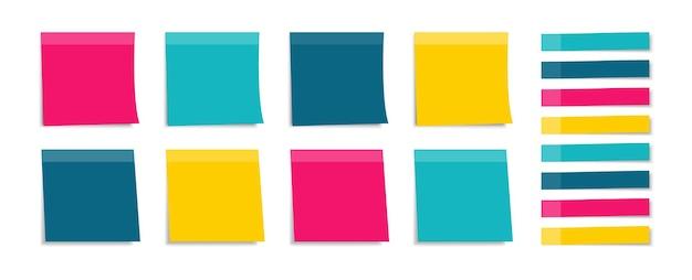Conjunto de adesivos coloridos. lembretes.