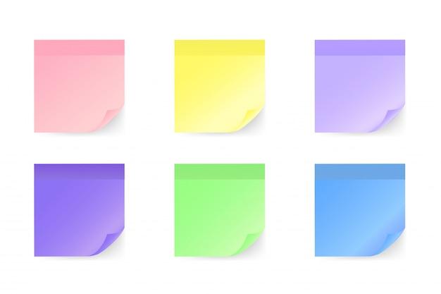 Conjunto de adesivos coloridos nota em estilo simples